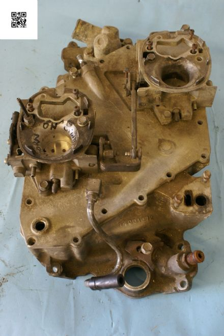 1982 Corvette C3 Crossfire Intake Manifold with Throttle Bodies and Linkage, 14031372, Used Fair